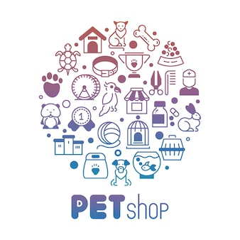 Pet store or shop round banner