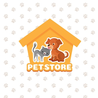 Pet store vector background with happy pets animals