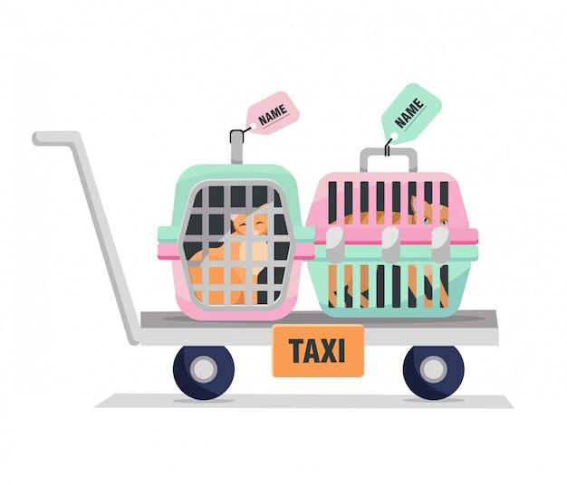 애완 동물 택시. 고양이 가방 개인 여행 케이지의 요소입니다.