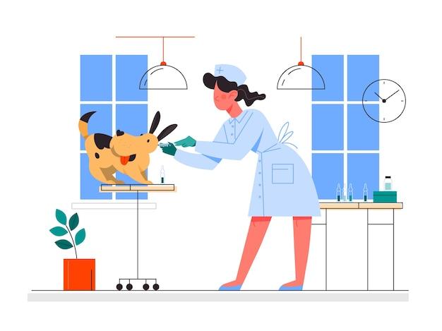ペットの予防接種。犬にワクチン注射をする看護師。病気からの保護のためのワクチン注射のアイデア。医療とヘルスケア。予防接種のメタファー。