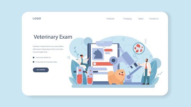 Pet veterinarian web banner or landing page. veterinary doctor checking