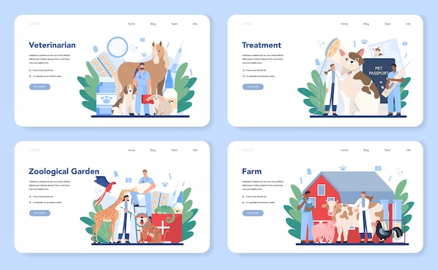 Pet veterinarian web layout or landing page set. veterinary doctor checking and treating animal. idea of pet care. farm and zoological garden animal medical treatment.