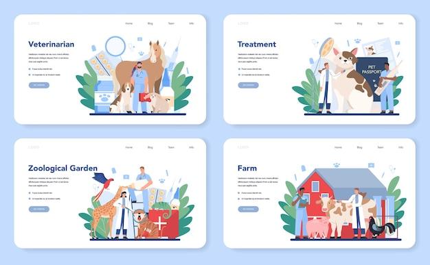 애완 동물 수의사 웹 레이아웃 또는 방문 페이지 세트. 동물을 검사하고 치료하는 수의사. 애완 동물 관리에 대한 아이디어. 농장 및 동물원 동물 치료.