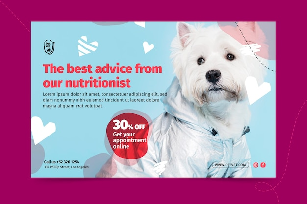 Pet veterinary banner template