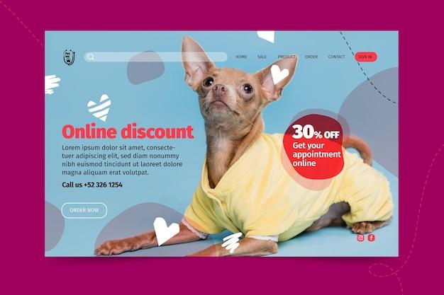 Modello di pagina di destinazione veterinaria per animali domestici