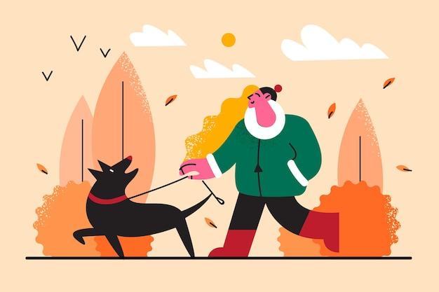 애완 동물 산책 및 가을 그림