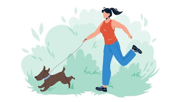 ペットの散歩と女の子のベクトルと公園で実行します。若い女性は屋外で犬のペットと一緒に歩いて走ります。家畜と一緒に余暇を楽しんでいるキャラクターフラット漫画イラスト