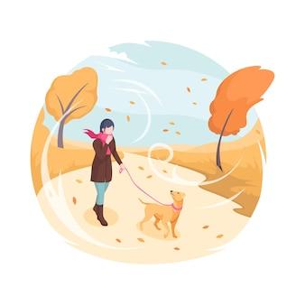 가 바람 벡터 아이소메트릭 평면 그림 여자 산책 가죽 끈에 강아지와 함께 산책 하는 애완 동물