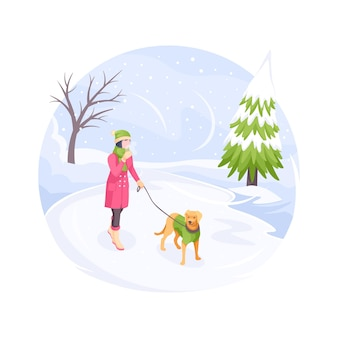 Pet walking in winter snow cold woman with dog vector isometric flat illustration girl with dog
