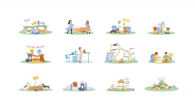 Pet владелец плоский цветной векторный безликих символов набор. салон по уходу за кошками. собака играет на детской площадке. коза в театре. деятельность по уходу за животными изолированные иллюстрации шаржа на белом фоне
