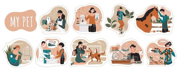 Pet владельцы персонажей мультфильма, иллюстрации. мужчины и женщины проводят время с животными, люди ухаживают за собакой, кошкой, лошадью и птицей. стрижка собак и приют для животных
