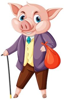 Concetto di coniglio di peter con un personaggio dei cartoni animati di un maiale che indossa un vestito isolato