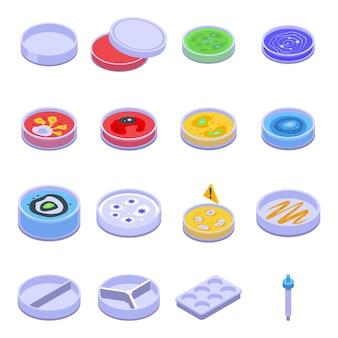 ペトリ皿アイコンを設定します。白い背景で隔離のウェブデザインのペトリ皿ベクトルアイコンの等尺性セット