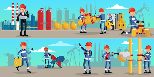 Petrochemical industry characters horizontal banners