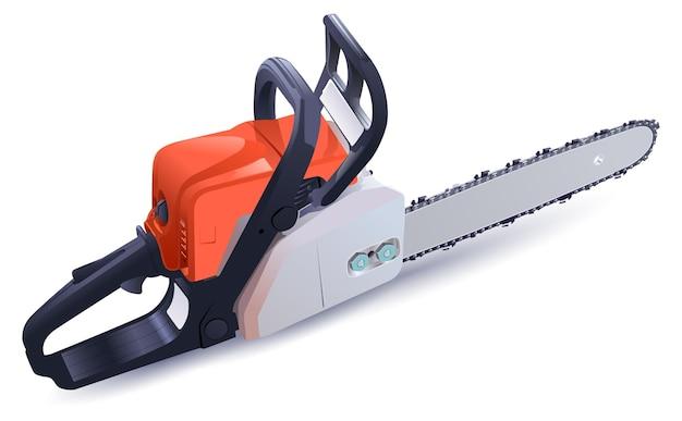 휘발유 체인 톱은 나무를 톱질하기 위한 강력한 도구입니다. 벡터 일러스트 레이 션 흰색 절연