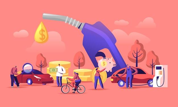 Концепция экономики бензина. мультфильм плоский иллюстрация