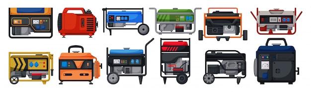 ガソリンジェネレーター漫画は、アイコンを設定します。白い背景の上の図のオルタネーター。漫画セットアイコンガソリンジェネレーター。