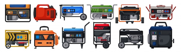 Petrol generator  cartoon set icon.  illustration alternator on white background.  cartoon set icon petrol generator.