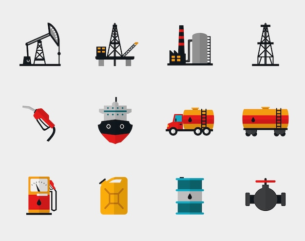 Petrol production, oil refining and petroleum transportation flat set. pump and transportation, plant and transport, refueling and barrel