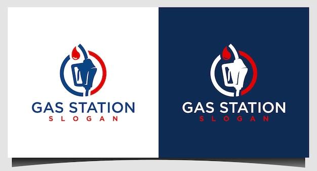 Шаблон дизайна логотипа бензонасоса