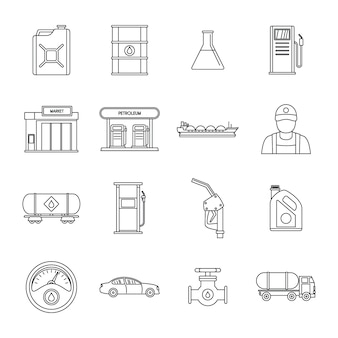 Petrol station gas fuel icons set
