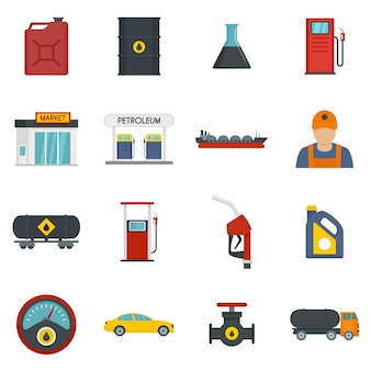Petrol station gas fuel shop icons set