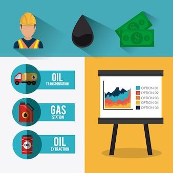 石油および石油産業のインフォグラフィックデザイン