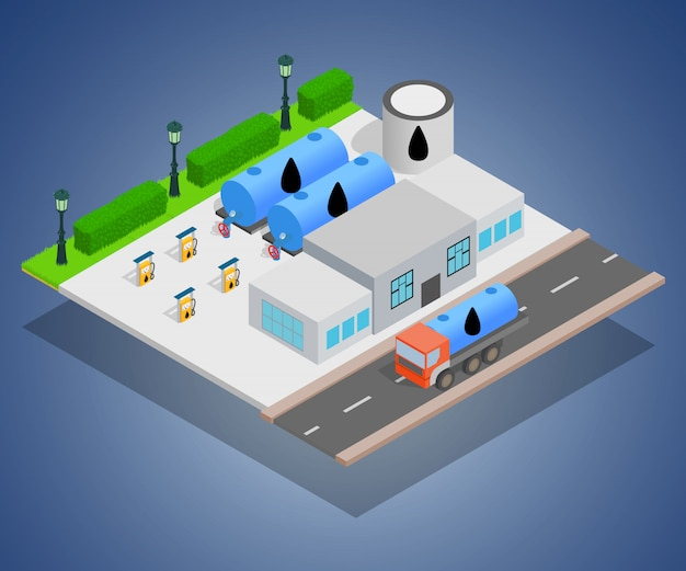 Petroleum concept banner, isometric style