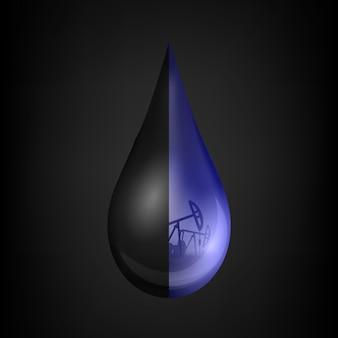 Petroleum drop, droplet, crude gasoline, oil pump.