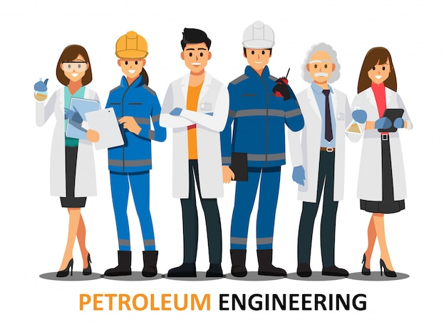 Petroleum engineering teamwork ,vector illustration cartoon character.