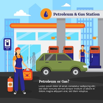 Petroleum and gas station illustration