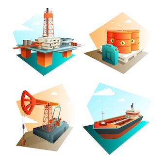 Квадрат значков нефтяной промышленности с добычей, переработкой и транспортировкой нефтяного топлива, газа