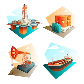 Petroleum industry icons square with extraction refining and transportation oil fuel gas