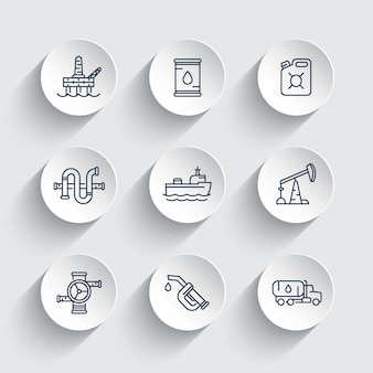 Petroleum industry line icons, gasoline nozzle, barrel, oil and gas production platform