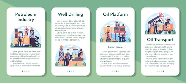 Petroleum industry mobile application banner set. pumpjack platform extracting crude oil from the bowels of the earth. oil production business. isolated flat vector illustration