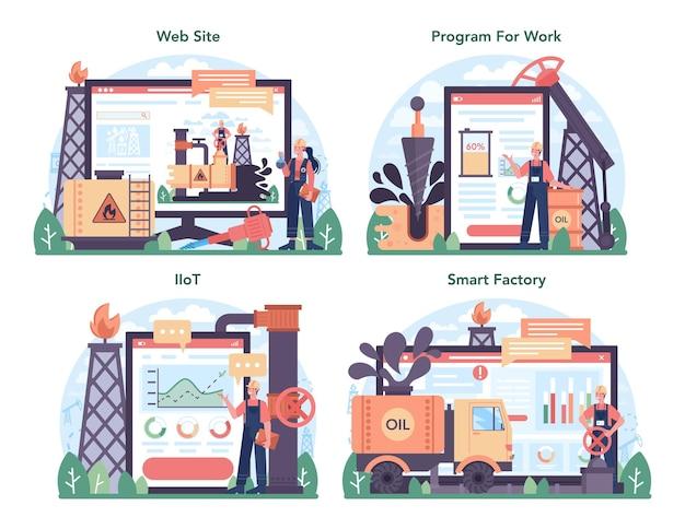 Petroleum industry online service or platform set. pumpjack platform