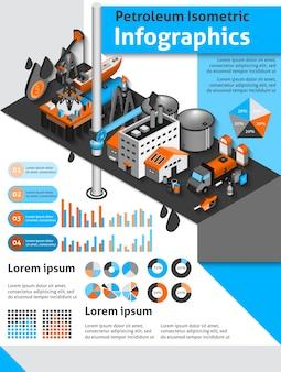石油アイソメトリックインフォグラフィックス