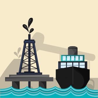 석유 석유 추출 및 정제 관련 아이콘 이미지