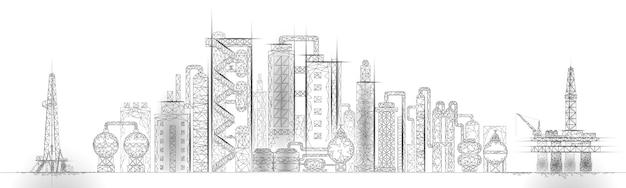 Бизнес-концепция комплексной панорамы нефтеперерабатывающего завода. финансовое хозяйство полигональный нефтехимический завод. нефтяное топливо будет трубопроводным. экологический раствор синий