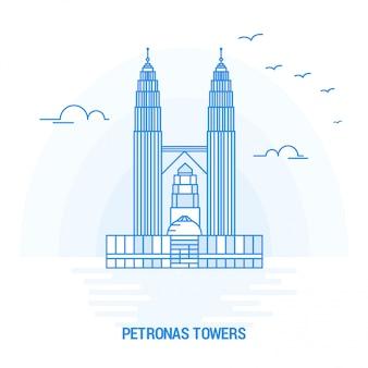 Petronas towers blue landmark