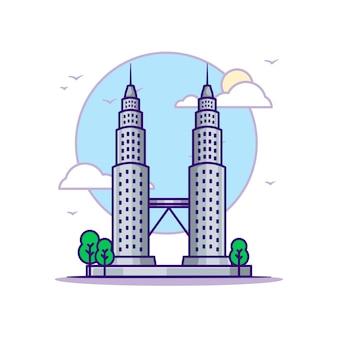 페트로나스 타워 일러스트. 랜드 마크 개념 흰색 절연입니다. 플랫 만화 스타일