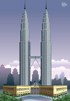 Petronas twin towers skyscrapers vector