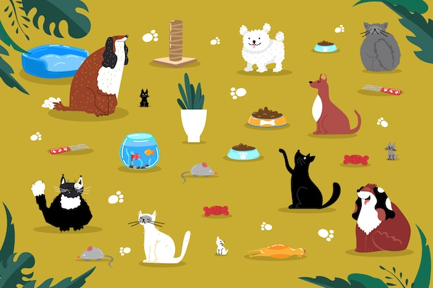 애완 동물 액세서리 것 제품 아이콘, 집 집 고양이 개 수족관 물건 그림. 국내 가정 생물 장난감 놀이.