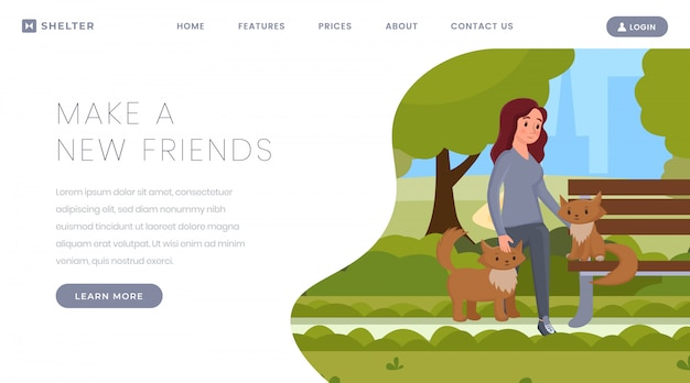 Pets adoption landing page template
