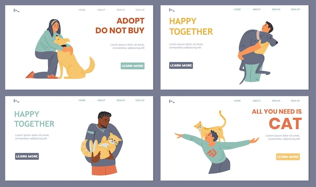Pets adoption landing page templates happy people hugging playing with dogs and cats
