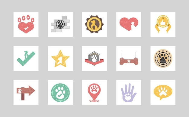Pets badges set