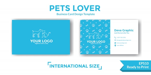 Pets business card template
