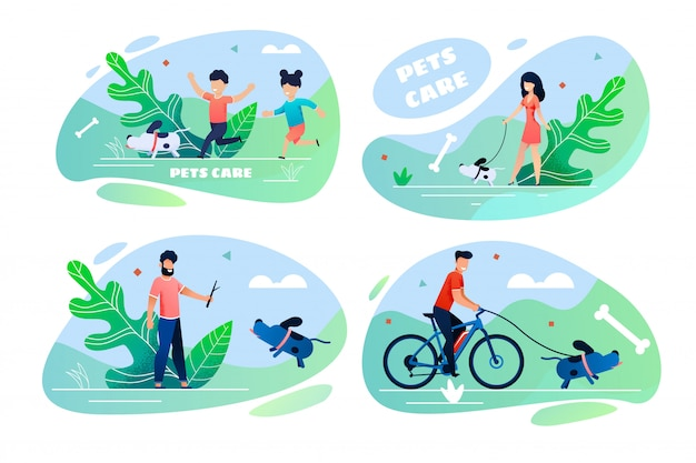Pets care cartoon people and domestic animals set
