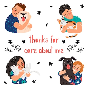 Pets care poster. children hugging dog cats, thanks for caring. animal adoption vector background