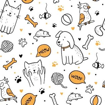 ペットの猫と犬の落書きスタイルのシームレスなパターン